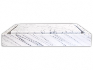 Eden Bath Rectangular Infinity Pool Sink – White Carrara Marbel