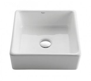 Kraus KCV-120 White Square Ceramic Sink